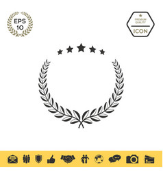 laurel wreath with five stars - design symbol vector image