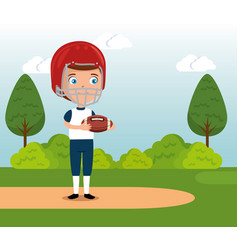 little boy playing baseball happy character vector image
