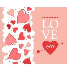 Love you lettering Greeting Card on pink back vector image