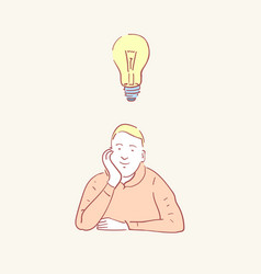 man idea lightbulb male lamp hand drawn style vector image