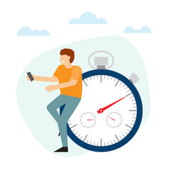 Man is standing with near the stopwatch leaning vector