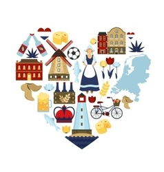 Netherlands heart concept vector
