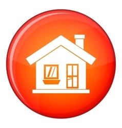 One-storey house with a chimney icon flat style vector