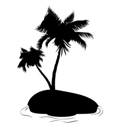 Palm Tree on Island Silhouette vector