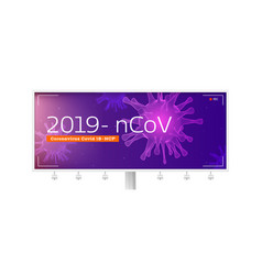 pandemia virus covid19 19-ncp billboard with 3d vector image