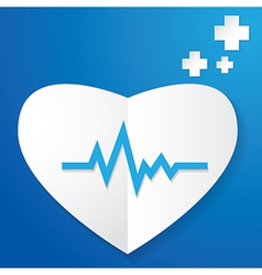 Paper heart and pulse vector