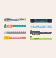 Plastic control bracelets template set colorful vector