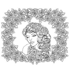 Pretty elegant boho girl with floral wreath vector