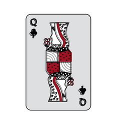 queen of clover or clubs french playing cards vector image