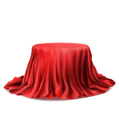 realistic box covered with red silk cloth vector image