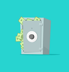 Safe deposit box full of paper money vector