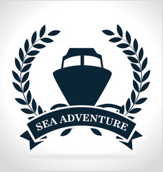 sea adventure ship label vector image