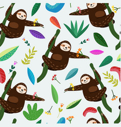 seamless pattern cute sloth with flower and leaf vector image