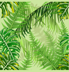 Seamless pattern with tropical leaves and ferns vector