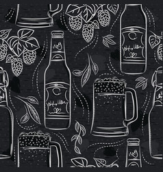 Seamless patterns with set beer bottle mug and vector