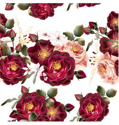Seamless wallpaper pattern with realistic roses vector