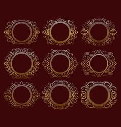 set golden vintage frames vector image