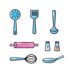 set kitchen utensils and traditional object vector image