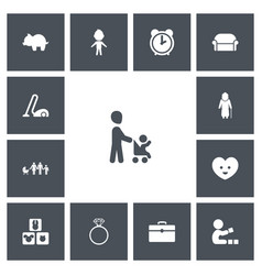 Set of 13 editable relatives icons includes vector