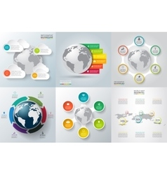 set of infographics with the planet earth vector image