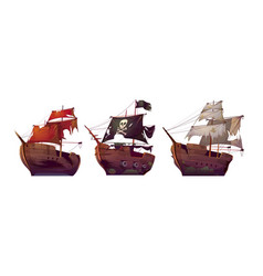 ships after shipwreck old broken sail boats vector image
