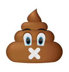 shit icon shut up faces poop emoticon vector image