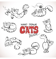 Sketch playful cats vector