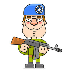 Soldier in a beret and a machine gun on a white vector