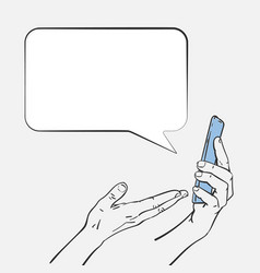 speech bubble from smartphone with hand showing vector image