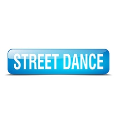 Street dance blue square 3d realistic isolated web vector