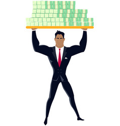 strong businessman lifting up heavy dollar vector image