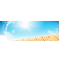summer scene with wooden light table vector image
