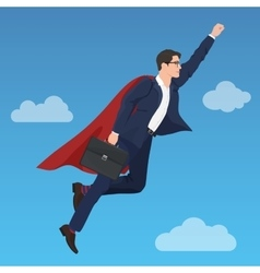 Superhero super successful businessman flying in vector