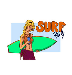 surfer with surfboard vector image