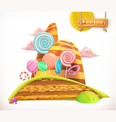 Sweet land cake cupcake candy 3d icon vector