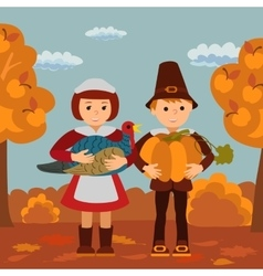 Thanksgiving day children pumpkin and turkey vector