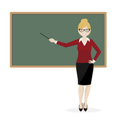 the blond teacher explaining at the blackboard vector image