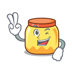 Two finger cream jar character cartoon vector