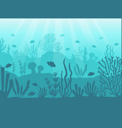 underwater seascape ocean coral reef deep sea vector image
