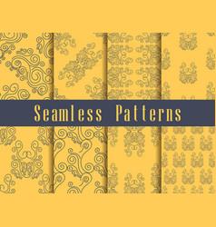 Vintage seamless pattern set baroque ornament vector