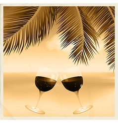 Vintage sepia tropical scene with wine glasses vector