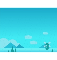 Wallpaper Landscape with Mountains Rain and vector image