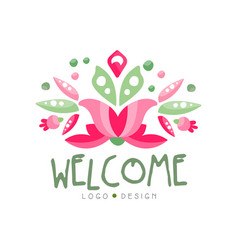 welcome logo design holiday card banner vector image