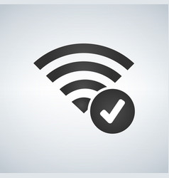 wifi connection signal icon with check mark in vector image