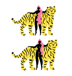 With young long hair woman and funny striped tiger vector