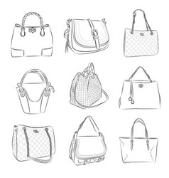 Woman bag from thin lines vector