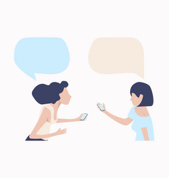 womans talk with mobile speech bubbles vector image