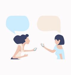 Womans talk with mobile speech bubbles vector