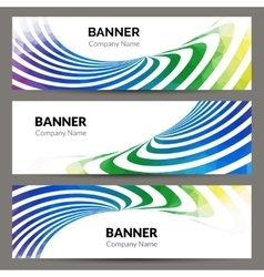 Abstract business banners set with waves stripes vector image vector image