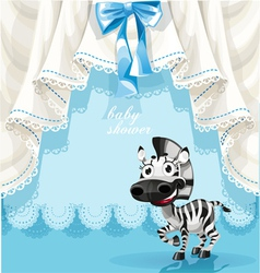 Blue baby shower card with cute little baby zebra vector image vector image